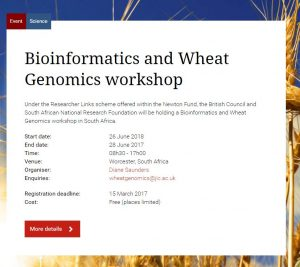 Bioinformatics and Wheat Genomics workshop @ Worcester, South Africa